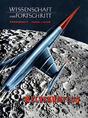1950s Magazine On Spaceflight Art Print by Detlev Van Ravenswaay