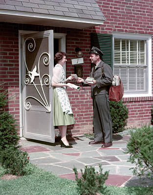 1950s Mailman Letter Carrier Delivering Art Print