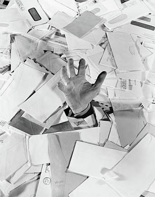 Envelope Photograph - 1950s Male Hand Sticking Out Of Pile by Vintage Images