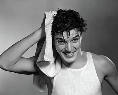 1950s Man Drying Hair After Shower Art Print