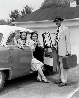 1950s Man Father Holding Suitcase Art Print