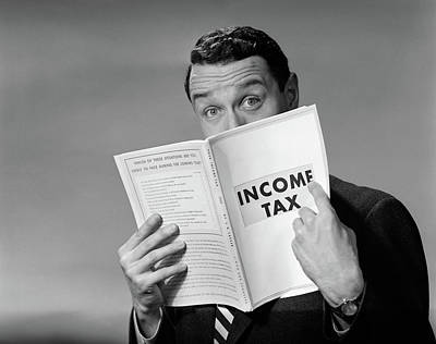 Auditors Photograph - 1950s Man In Suit Nose In Income Tax by Vintage Images