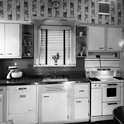 1950s Modern Kitchen Interior Sink Art Print
