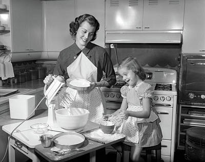 1950s Mother & Daughter Baking A Cake Art Print