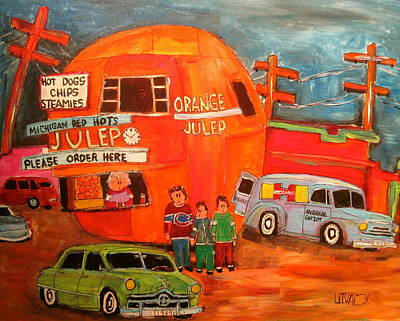 Litvack Painting - 1950's Orange Julep Montreal Memories by Michael Litvack
