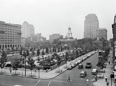 Cityscape Of Philadelphia Photograph - 1950s Philadelphia Pa Usa Looking by Vintage Images
