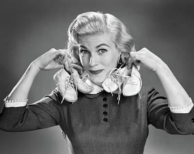 1950s Portrait Blond Woman Holding Art Print