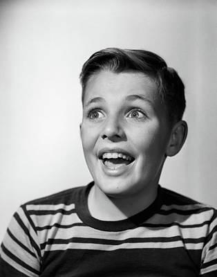 1950s Portrait Happy Smiling Boy Stripe Art Print