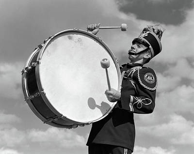 1950s Portrait Of Boy In Marching Band Art Print