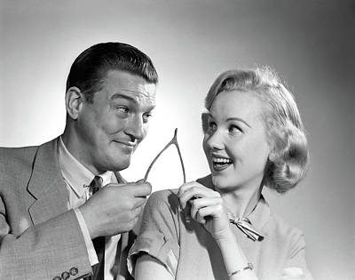 1950s Portrait Of Couple Holding Art Print