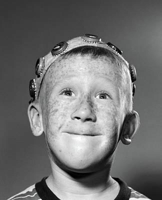 1950s Portrait Of Smiling Freckled Teen Art Print