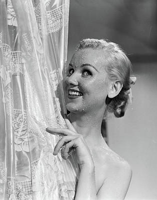 1950s Portrait Of Wet Blonde Woman Art Print