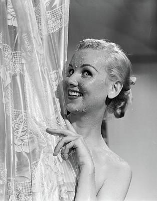 Unclothed Photograph - 1950s Portrait Of Wet Blonde Woman by Vintage Images