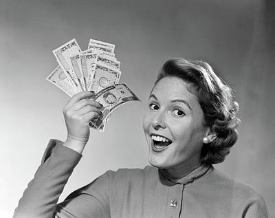 1950s Portrait Of Woman Holding Art Print