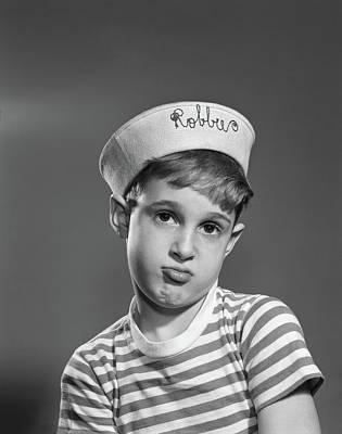 1950s Portrait Sad Pouting Boy Wearing Art Print