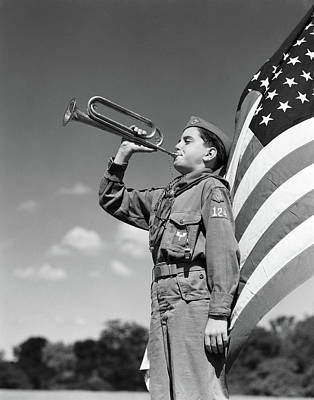 Boy Scouts Photograph - 1950s Profile Of Boy Scout In Uniform by Vintage Images