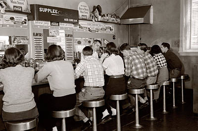 1950s Rear View Of Group Of Teenage Art Print
