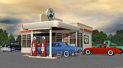 Digital Art - 1950s Route 66 Gas Station by Walter Colvin