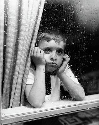 1950s Sad Boy Looking Art Print