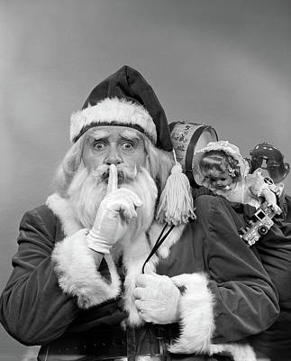 Kringle Photograph - 1950s Santa Claus With A Bag Of Toys by Vintage Images