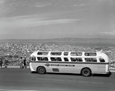 Sight Seeing San Francisco Photograph - 1950s Sightseeing Tour Bus Parked by Vintage Images