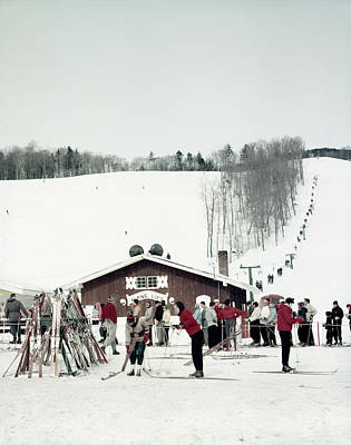 Ski House Wall Art - Photograph - 1950s Skiers At Alpine Lift Mount Mt by Vintage Images
