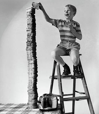 Toaster Photograph - 1950s Smiling Boy On Ladder Stacking by Vintage Images