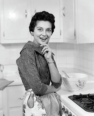 Bug Eyes Photograph - 1950s Smiling Brunette Woman Housewife by Vintage Images
