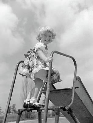 1950s Smiling Little Girl In Plaid Art Print