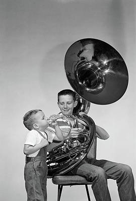 Sousaphone Photograph - 1950s Smiling Teen Boy With Brass Tuba by Vintage Images