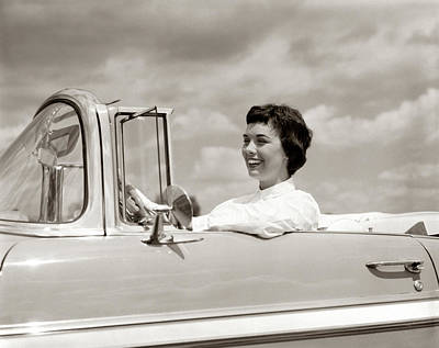 Driving Machine Photograph - 1950s Smiling Woman Driving Chevrolet by Vintage Images
