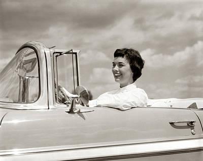 1950s Smiling Woman Driving Chevrolet Art Print