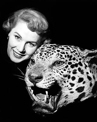 Large Cats Photograph - 1950s Smiling Woman Face Looking by Vintage Images