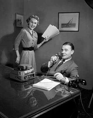 Dictaphone Photograph - 1950s Smiling Woman Secretary Holding by Vintage Images