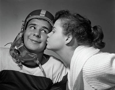 Teenage Girl Photograph - 1950s Teen Girl With Pony Tail Kissing by Vintage Images