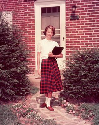 Brick Schools Photograph - 1950s Teen Teenage Girl Holding School by Vintage Images