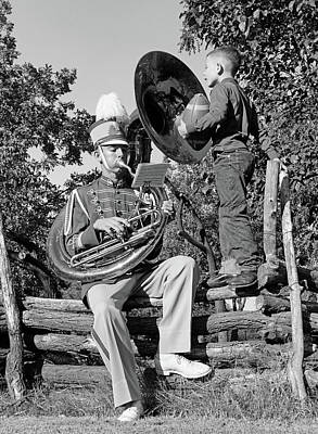 Sousaphone Photograph - 1950s Teenage Boy Playing A Tuba by Vintage Images