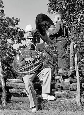 Tuba Photograph - 1950s Teenage Boy Playing A Tuba by Vintage Images