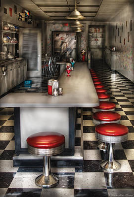 Mikesavad Photograph - 1950's - The Ice Cream Parlor  by Mike Savad