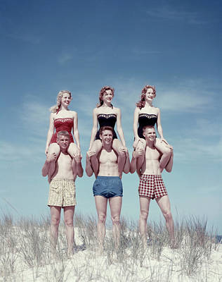 Teenage Girl Photograph - 1950s Three Teenage Couples Standing by Vintage Images