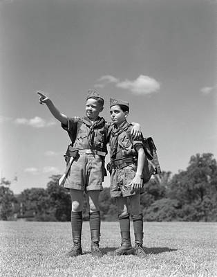 Boy Scouts Photograph - 1950s Two Boy Scouts One Pointing by Vintage Images
