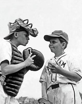 1950s Two Boys Wearing Little League Art Print