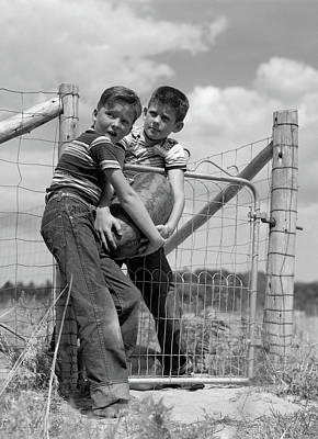 Watermelon Photograph - 1950s Two Farm Boys In Striped T-shirts by Vintage Images