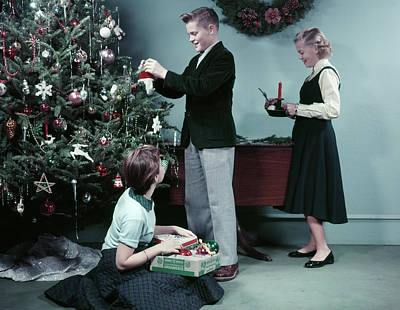 Teenage Girl Photograph - 1950s Two Girls And One Boy Decorating by Vintage Images