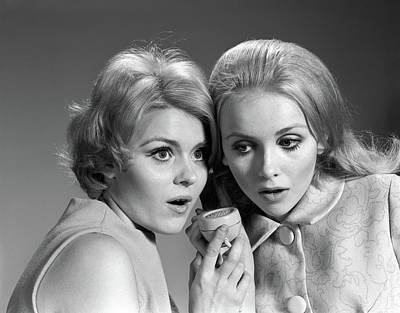 Shock Photograph - 1950s Two Women Eavesdropping by Vintage Images