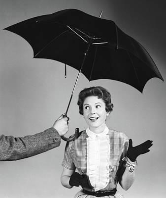 1950s Unseen Man Hold Out Umbrella Art Print