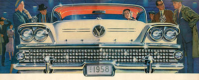 Buick Drawing - 1950s Usa Buick Magazine Advert Detail by The Advertising Archives