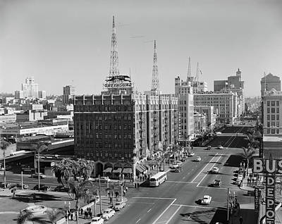 Old Bus Stations Photograph - 1950s View Of Downtown And Greyhound by Vintage Images