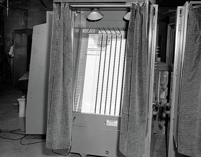 Ballot Wall Art - Photograph - 1950s Voting Booth Machine With Curtain by Vintage Images