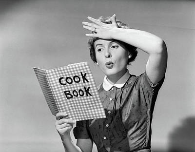 Cookbooks Photograph - 1950s Woman Holding Hand On Forehead by Vintage Images
